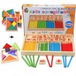 Ahşap Eğitici Zeka Oyuncak Çubuklu Rakamlı Zeka Oyunu Puzzle Koordinasyon + 7 Parça Tangram Hediyeli