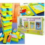 3 Adet Model Ahşap Hayvan Figürlü Hem Jenga Hem Puzzle Oyuncak - 54 Parça Ahşap Domino Jenga Oyunu