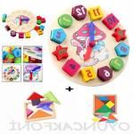 Eğitici Ahşap Oyuncak Tavşan Bultak Saat Oyuncak Saat - 7 Parça Ahşap Tangram Puzzle Hediyeli