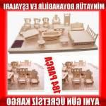 Ahşap Minyatür Ev Eşyaları Eğitici Oyuncak Ve Biblo Seti 184 Parça 37 Mobilya Boyanabilir Mobilya Se