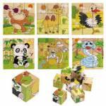 4 Adet Ahşap Küp Bloklar Puzzle Yapboz Her Biri 9 Parça Ahşap Oyuncak 4 Ayrı Komple Set