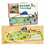 Ahşap Oyuncak Çocuklar İçin Demiryolu Üst Geçit Otoyol Araba Sürme Oyunu