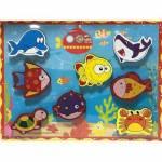 Renkli 8 Parça Deniz Canlıları Kalın Ahşap Yapboz